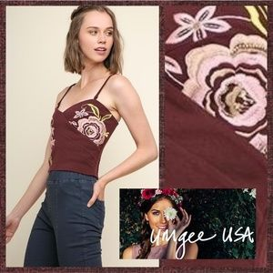 Umgee Embroidered Beaded Crop Top Adjustable Strap